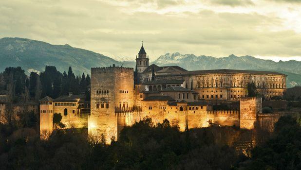 Photo free castle, lights, spain granada