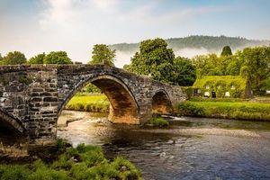 Бесплатные фото Уэльс, мост, река, севе, Великобритания, дом, пейзаж