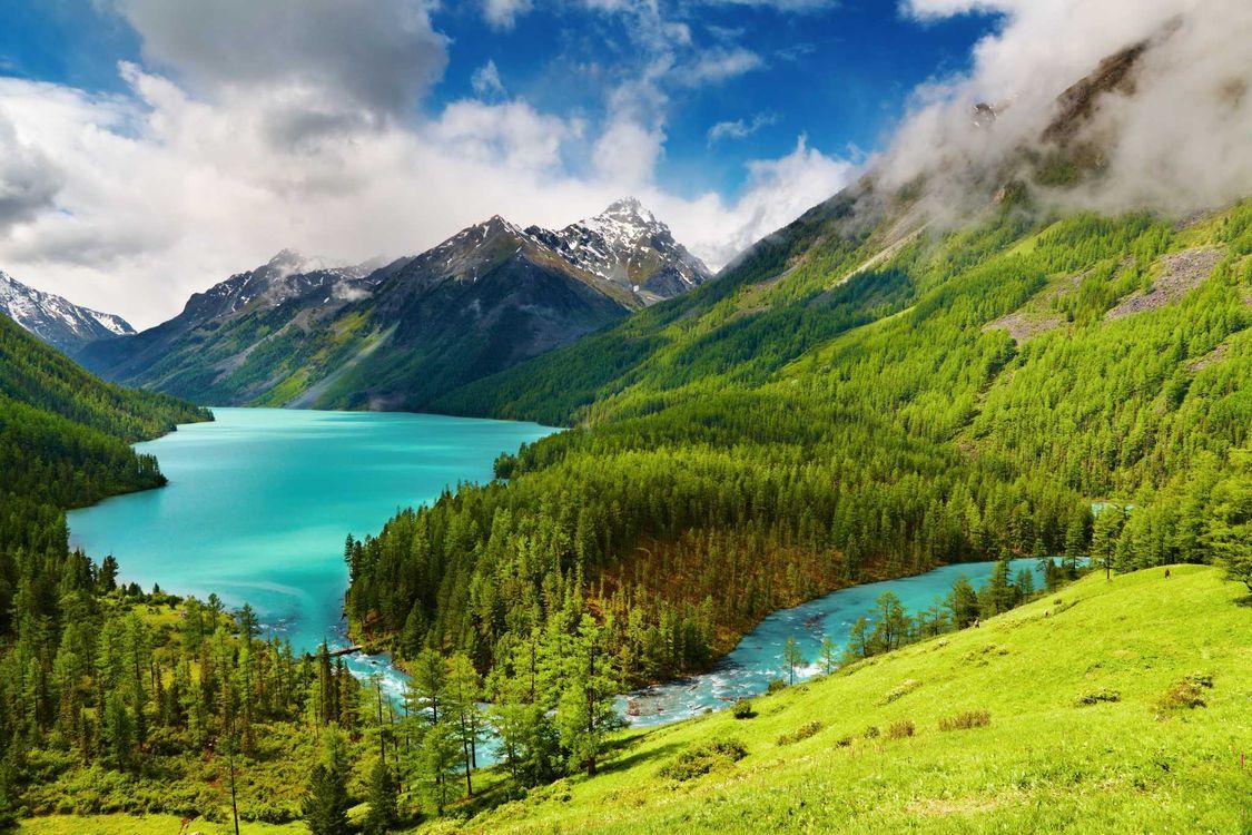 Фото бесплатно mountains, trees, alpine lake - на рабочий стол