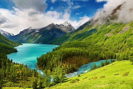 Фото бесплатно mountains, trees, alpine lake