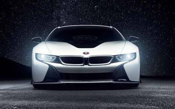 Photo free BMW i8, front view, stars