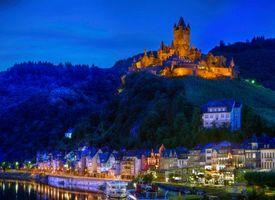 Бесплатные фото Замок Кохем,Германия,ночь