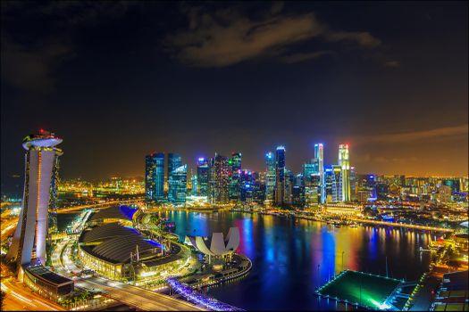 Заставки огни, сингапур, ночь