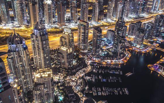 Фото бесплатно небоскребы, город, огни