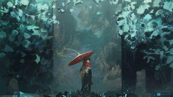 Photo free anime girl, forest, umbrella