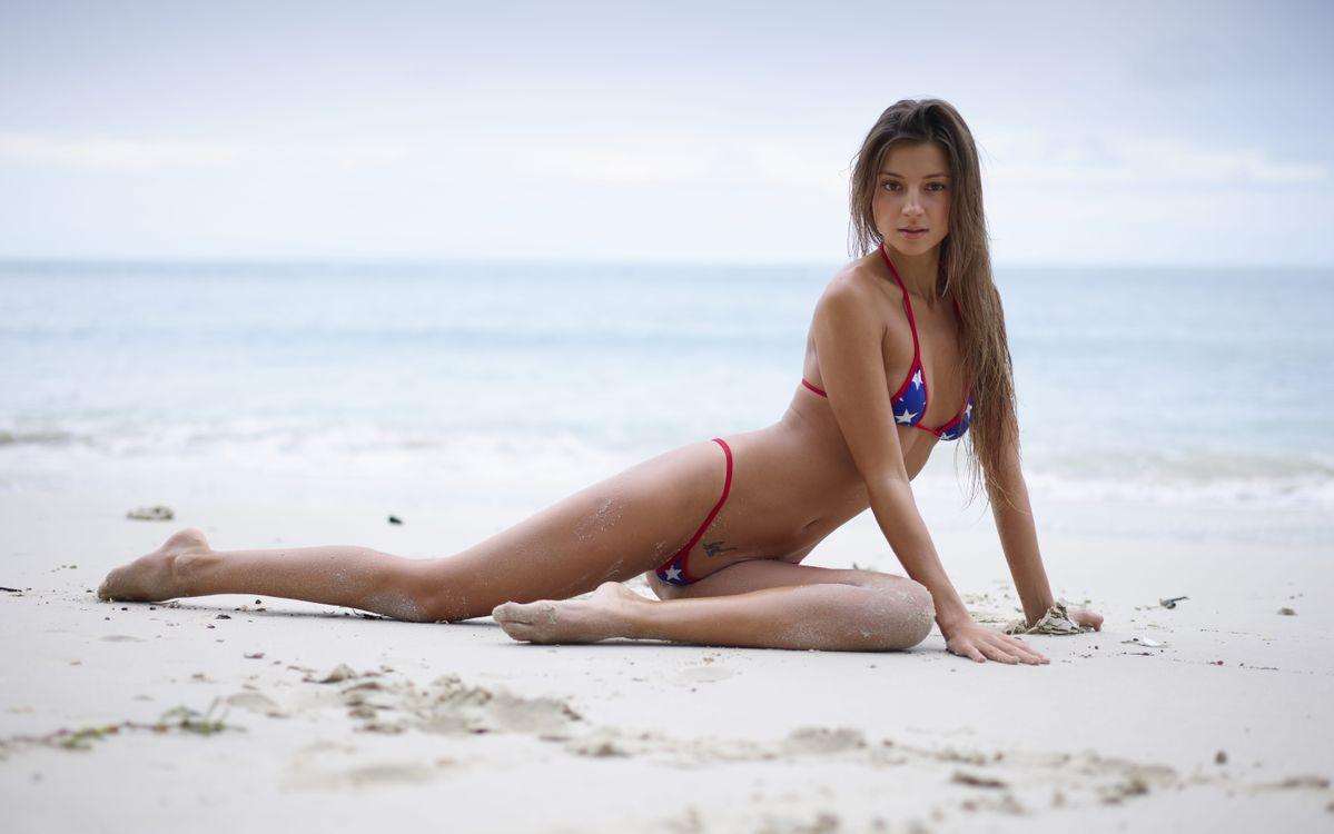 Обои пляж, мария RYA, брюнетка картинки на телефон