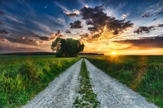 Фото бесплатно грунтовая дорога, вечер, закат