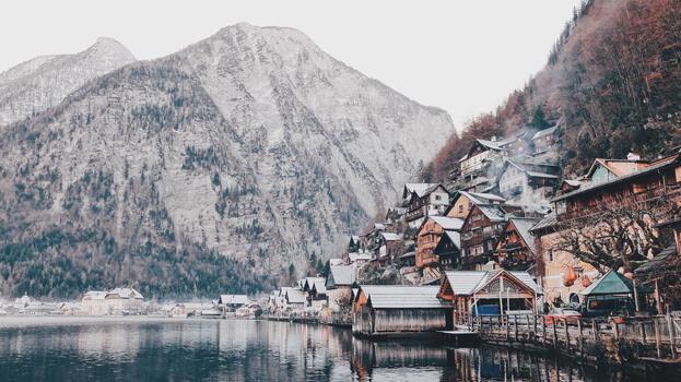 Photo free mountain side, city, fjord