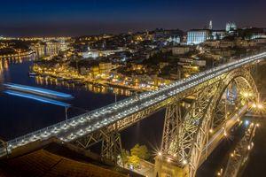 Бесплатные фото Porto,Порту,Португалия,город,ночь,мост,освещение