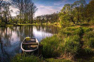 Бесплатные фото река,лодка,деревья,пейзаж