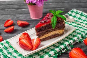 Бесплатные фото пирожное, крем, клубника