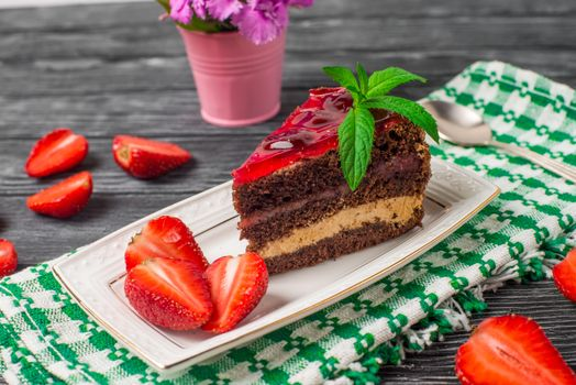 Фото бесплатно пирожное, крем, клубника