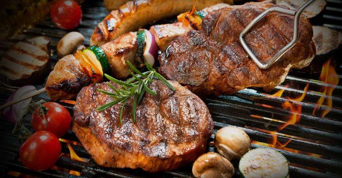 Фото бесплатно стейк, гриль, овощи