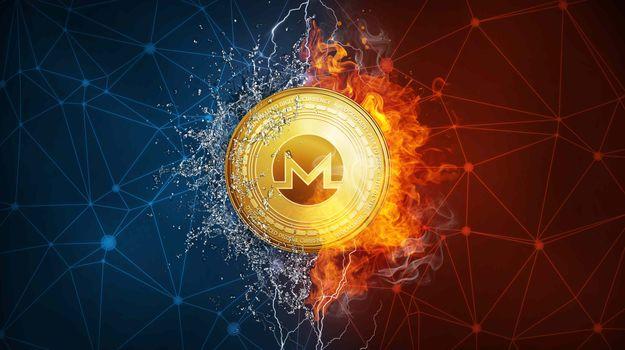 Заставки Monero, огонь, монета
