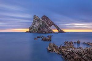Заставки Шотландия, море, скалы, арка, закат, пейзаж