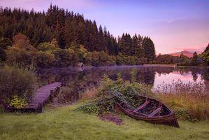 Бесплатные фото Шотландия,Национальный парк Лох-Ломонд и Троссакс,Лодочный домик,закат,озеро,мостик,лодка