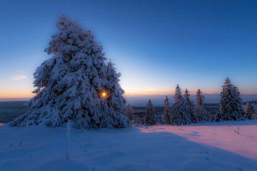 Заставка зима, закат на монитор