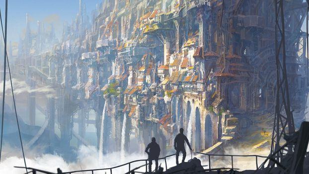 Photo free fantasy city, waterfall, edge