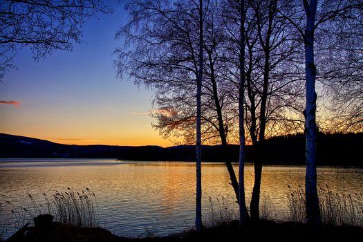 Заставки закат, деревья, Klockestrand