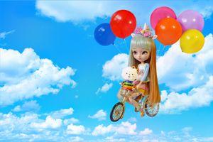 Бесплатные фото кукла,игрушка,небо,шары