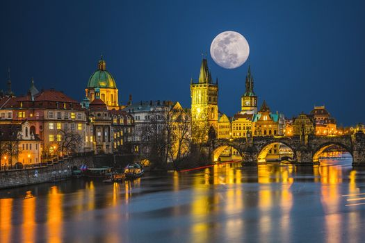 Photo free night city, Czech Republic, moon