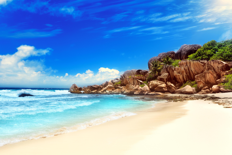 Обои тропики, Сейшелы, море, пляж