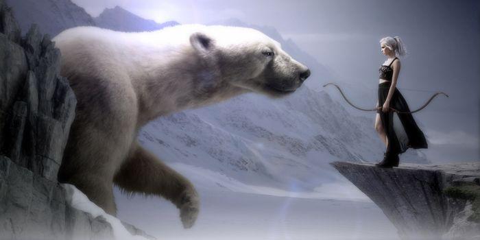 Бесплатные фото белый медведь,девушка,лучница,фантастика