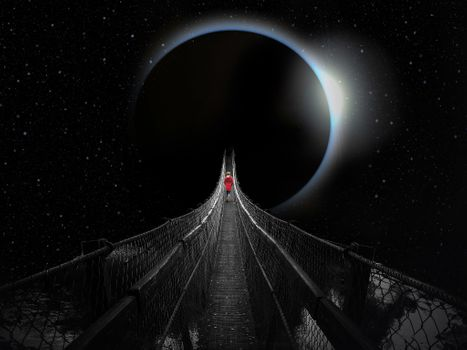 Photo free bridge to another planet, fantasy, fantasy