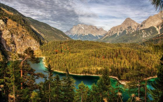 Photo free mini lake, mountain, trees