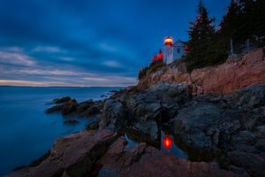 Бесплатные фото Bass Harbor Lighthouse,Acadia National Park,Maine,море,маяк,ночь,скалы
