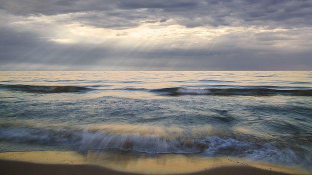 Photo free beach, dusk, water