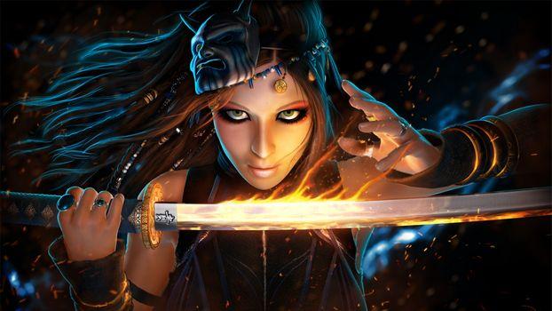 Фото бесплатно фантазии женщина, маска, огонь