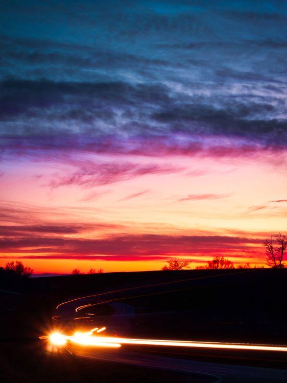 Дорога и закат · бесплатное фото