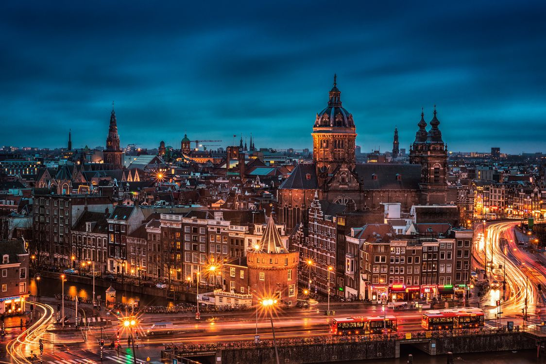 Фото бесплатно Amsterdam, Амстердам, Нидерланды, Голландия город, ночь, огни, иллюминация, город
