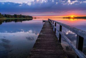 Бесплатные фото закат, озеро, мост, причал, пейзаж