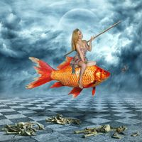 Фото бесплатно девушка, рыба, удочка