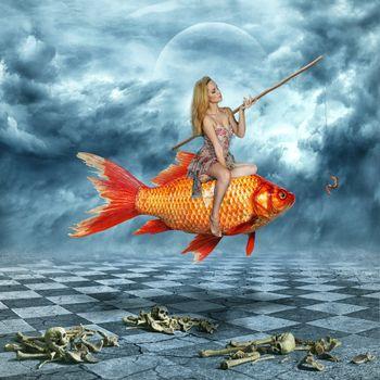 Бесплатные фото девушка,рыба,удочка,приманка