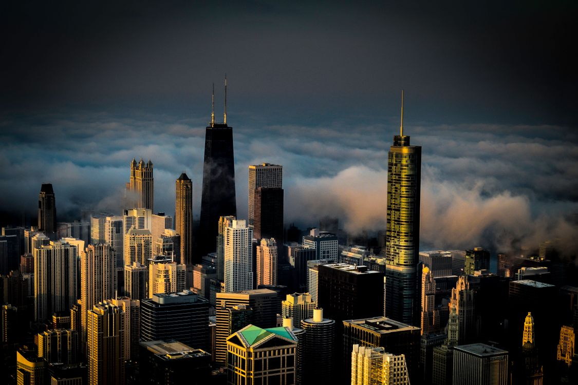 Фото бесплатно туман, Чикаго, здания - на рабочий стол