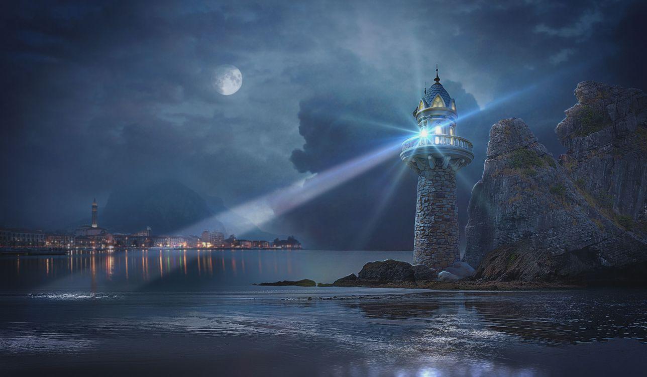 Фото бесплатно Озеро Комо, Белладжио, Италия, сумерки, старый маяк, скалы, пейзаж, рендеринг