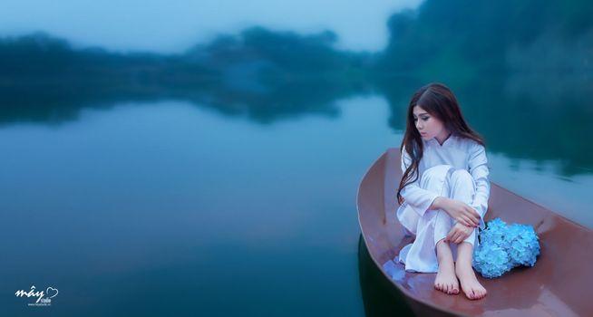 Photo free Asian, model, boat