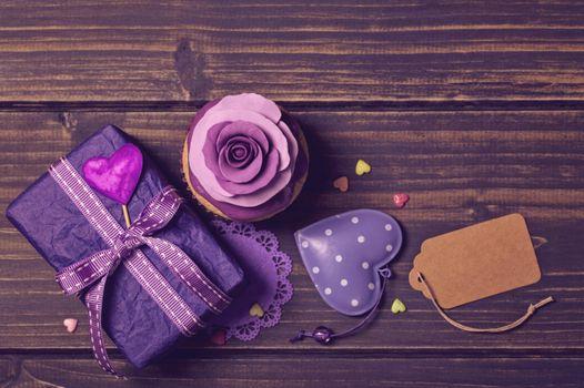 декор, violet, кекс, сердечки, украшение роза