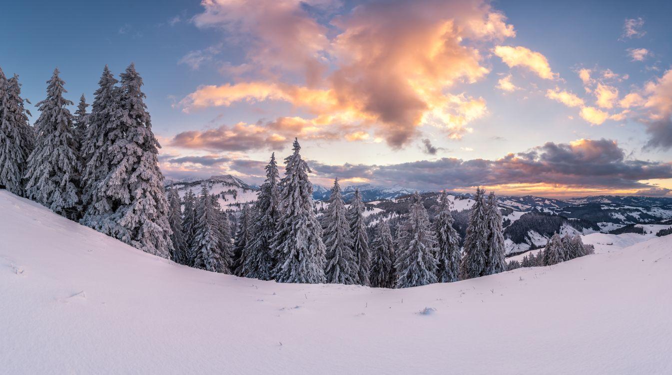 Фото бесплатно Закат на горе Хохальп 1529 м хребет Альпштайн Швейцария зима - на рабочий стол