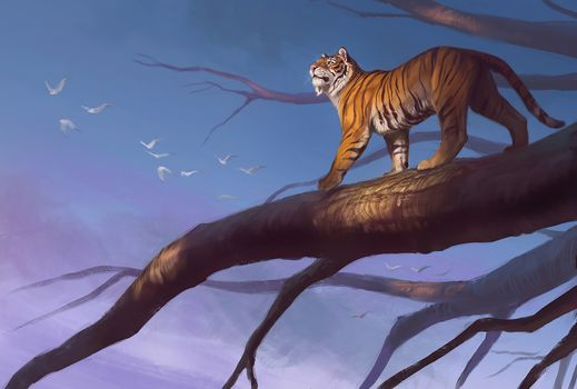 Photo free tiger, predator, tree