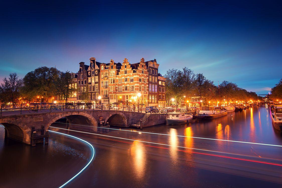 Фото бесплатно Amsterdam, Амстердам, Нидерланды, Голландия, город, ночь, огни, иллюминация, город