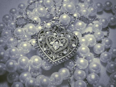украшение, бусы, жемчуг, сердечко