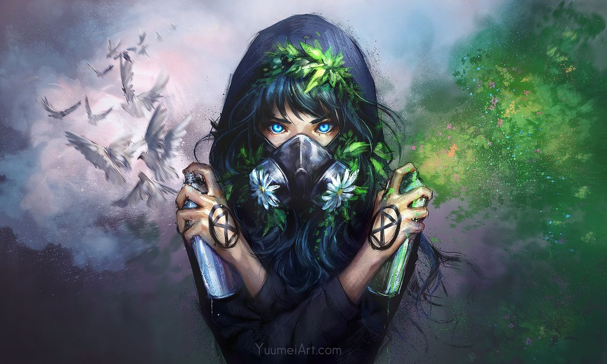 Фото аниме девушка толстовка с капюшоном маска - бесплатные картинки на Fonwall