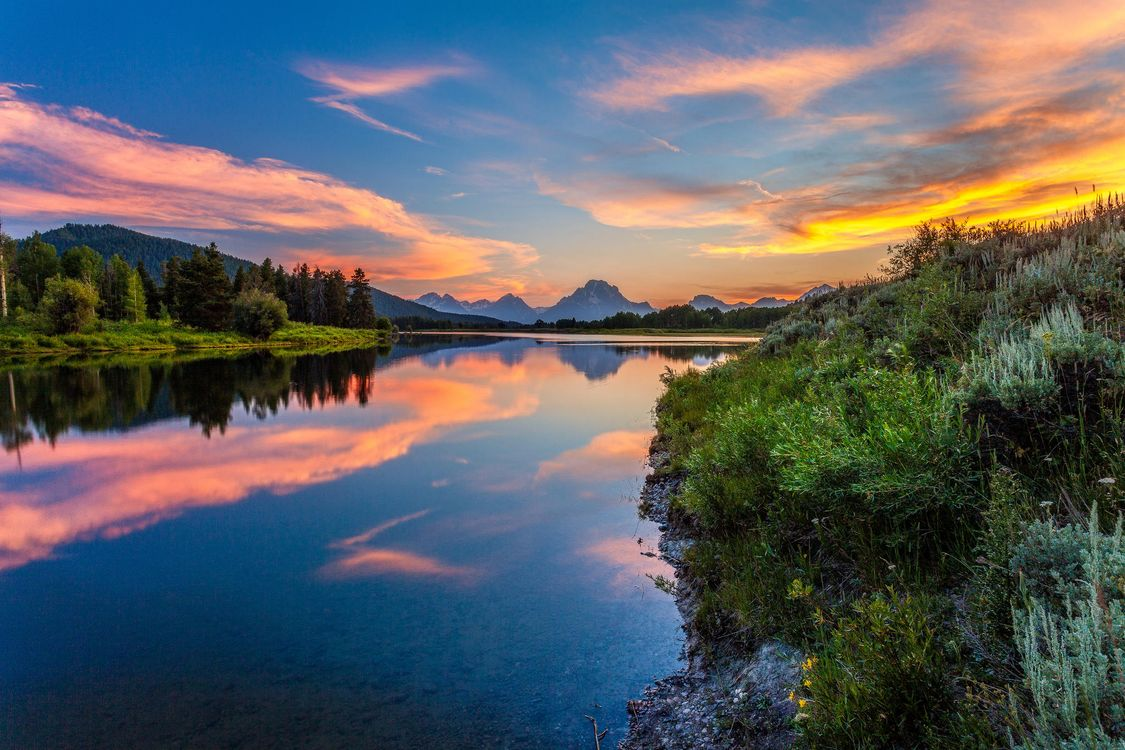 Фото бесплатно Grand Teton National Park, закат, река, озеро, лес, деревья, пейзаж, пейзажи
