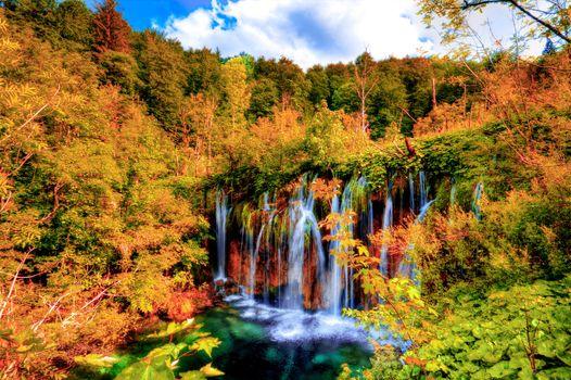 Заставки Plitvice Lakes, Croatia, водопад