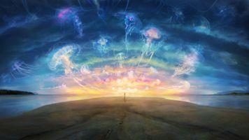 Обои закат, море, небо, берег, медузы, фантастика, art