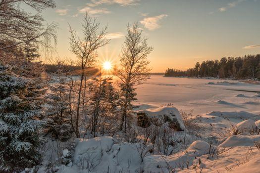 Photo free frozen lake, winter, snow